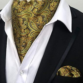 Gold & brown paisley ascot tie cravat & pocket square