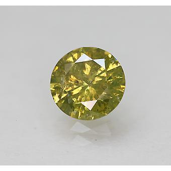 Cert 0.63 Ct Br Yellow SI3 Round Brilliant Enhanced Natural Diamond 5.61m EX CUT
