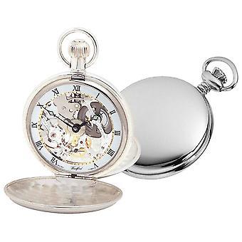 Woodford Sterling Silver Polished Double Hunter Skeleton Swiss Pocket Watch - Silver