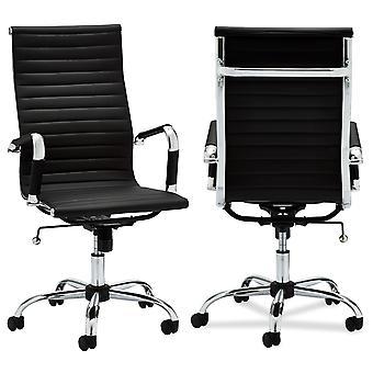 Furnhouse Designo Office Chair High Backrest, Black PU, Metal Base, 54x65x117 cm