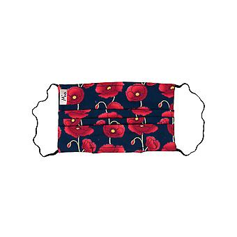 Mio WNS4 Poppy Chain Red en Navy Floral Cotton Face Mask met afneembare neusdraad