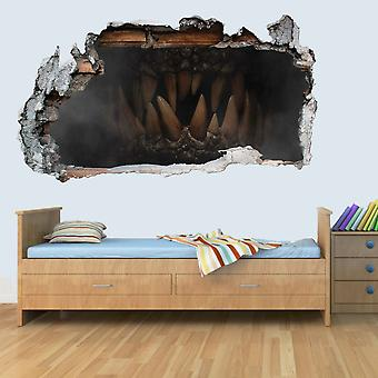 GNG Dinosaur Jurassic World Dino Teeth 3D Kids Wall Art Decal Vinyl Sticker Breakout Smashed Boys Girls