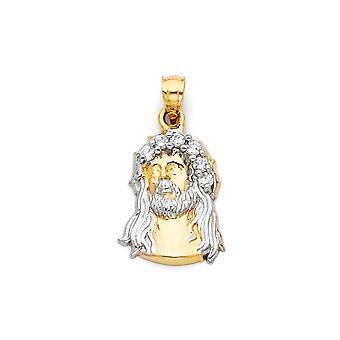 14k Ouro Amarelo e Ouro Branco CZ Zircônia Cúbica Inspiração religiosa de Diamante Simulado Jesus Cristo Cabeça Pingente