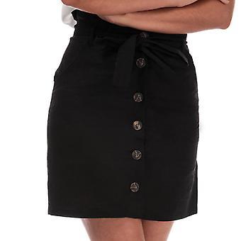 Women's Brave Soul Paper Bag Button Through Skirt in Black
