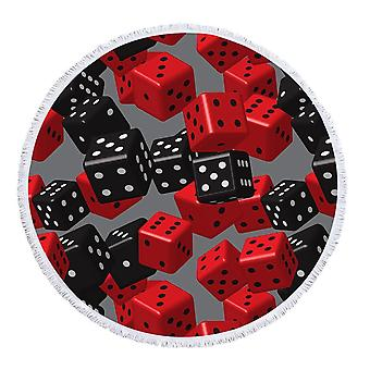 Red and Black Dice Beach Towel