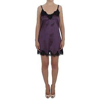 Dolce & Gabbana Purple Silk Black Lace Lingerie Dress -- SIG3533381