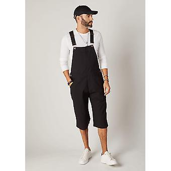 Christopher relaxed fit dungaree shorts - black