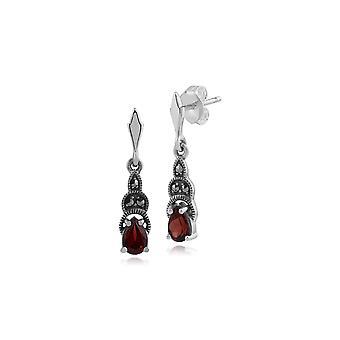 Art Deco Style Päärynä Garnet & Marcasite Drop korvakorut 925 Sterling Hopea 214E521204925