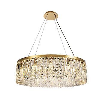 Iluminación Luminosa - Lámpara cilíndrica colgante de techo de 80 cm, 12 luz E14, oro, cristal
