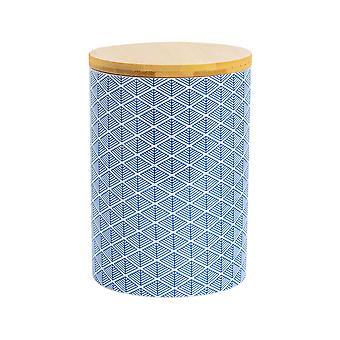 Nicola Spring Geometric Patterned Biscuit Barrel - Large Porcelain Kitchen Storage - Navy Blue - 14.5cm