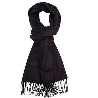 タイズ プラネット プレーン ブラック メン &アポス;s ロング ウール スカーフ