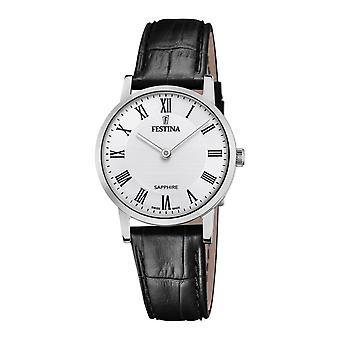 Festina Swiss F20013-2 Women's Swiss Made White Dial Black Leather Wristwatch