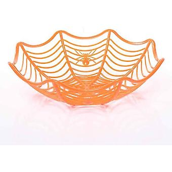Halloween spindelvev frukt kurv edderkopp web plast bolle oransje