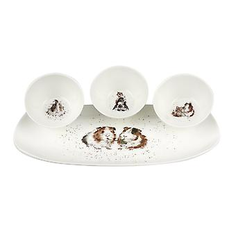 Wrendale Designs Guinea Pigs Bowl and Tray Set