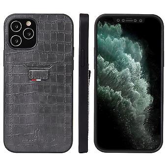 Voor iPhone 12 mini case Crocodile Pattern PU Lederen kaart slot cover grijs