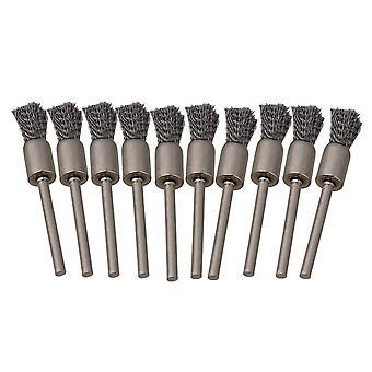 Kształt pióra 8MM Szczotki końcowe 3MM Średnica chwytu Szczotka z drutu ze stali nierdzewnej 10szt