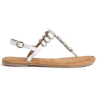 Tamaris White Leather Pearl Flip Flops Sandale