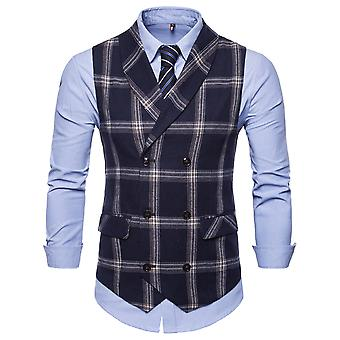 YANGFAN Mens Double Breasted Suit Vest Checked Casual Waistcoat