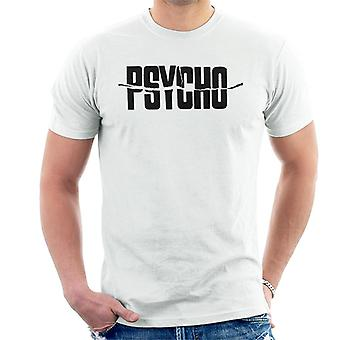 Logotipo de texto preto psicomáspmano Men't-shirt