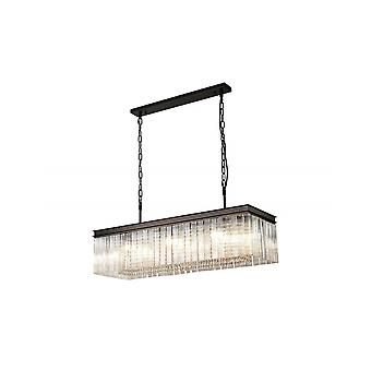 Edith Rectangular Pendant, 11 Light E14, Brown Oxide