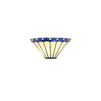 Morgan Tiffany Wall Lamp, 2 X E14, Blue/cream/crystal