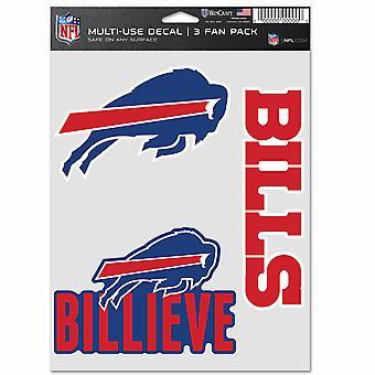 NFL Sticker Multi-Use Set av 3 20x15cm - Buffalo Bills