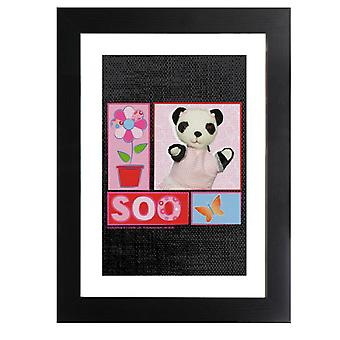 Sooty Soo Floral Text Butterfly Framed Print