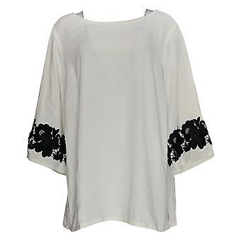 Linea por Louis Dell'Olio Women's Plus Top Lace Sleeve Ivory A347453