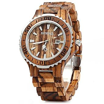 BEWELL ZS-100BG Luminous Hands Calendar Wood Watchs Waterproof Quartz Watch