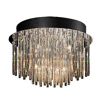 Klassieke Flush Ceiling Light Chrome 10 Licht met Crystal Shade G4
