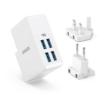 Anker USB-Stecker Ladegerät 5.4a/27w 4-Port USB-Wand-Ladegerät, Powerport 4 lite mit austauschbaren uk an