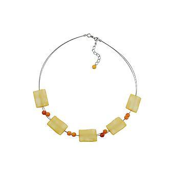 Halskette Rechteck Perlen gelb seidig 45cm