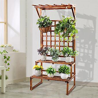 2 Step Plant Shelf Stand Flowers Hanging Slat For Growing Climbing Plants