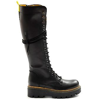 Zoe Lace-up Boots In Black and Yellow Leather With Maxi Sole