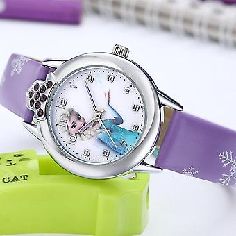 Princess Pattern Watch, Fashion Crystal Cartoon Leather Quartz