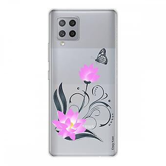 Scafo per Samsung Galaxy A42 5g Silicone Flessibile 1 mm, Fiore di Loto e Farfalla