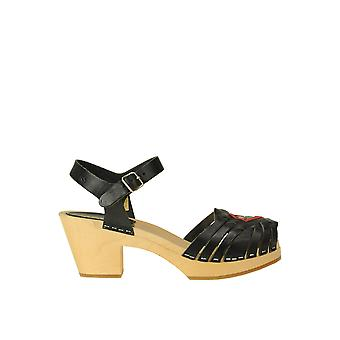 Swedish Hasbeens Ezgl631002 Women's Black Leather Sandals