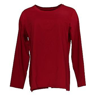 Susan Graver Kvinder's Top Modern Essentials Cool Cotton Long Slv Red A395585