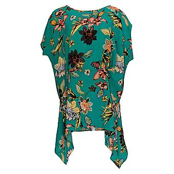 Women with Control Women's Petite Top Crepe Printed Asymmetric Green A377733
