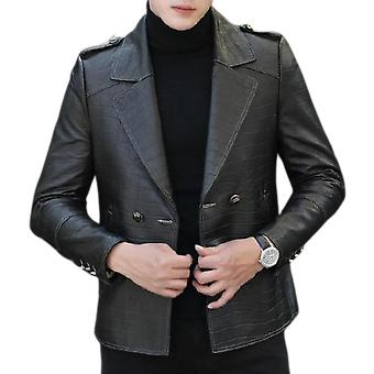 Stark mens bold snake print leather jacket