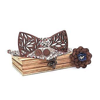 Conjunto de lenços de gravata de madeira paisley