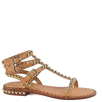Ash PLAY Sandals Nude Leather & Gold Studs