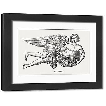 Zephyr, grecki bóg zachodniego wiatru, opublikował 1878. Duże zdjęcie w ramce. Zephyr - grecki bóg.