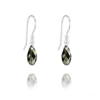 Green swarovski crystal teardrop earrings