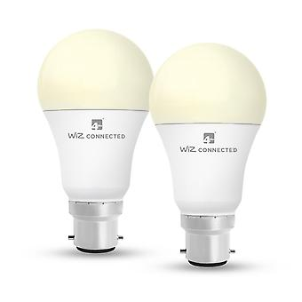 WiZ LED A60 Smart Bulb Wifi BC (B22) Warm White & Dimmable, 2 Pack