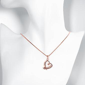 Pave Heart Necklace In 18k Rose Gold Plated Swarovski Crystals