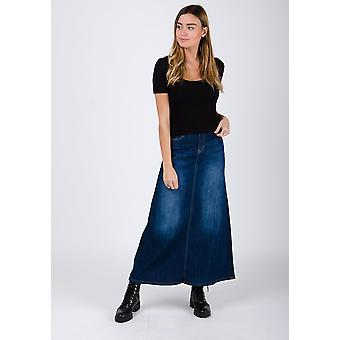 Lydia long denim jean skirt - dark blue