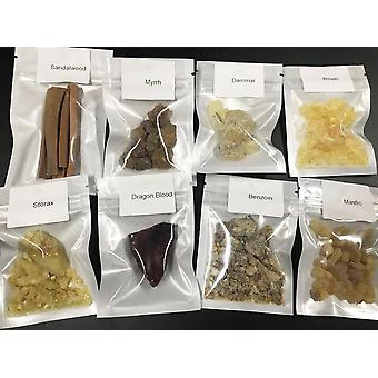 8 Harts Rökelse Sampler Frankincense, Myrrh, Dragon Blood, Sandelträ Healing
