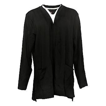 Isaac Mizrahi En direct! Women's Sweater Cotton Knit Cardigan Noir A390690