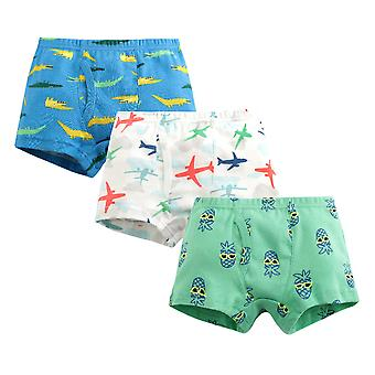 Yunyun Boys Cartoon Airplane Pineapple Crocodile Print Three-piece Cotton Poxer Panties